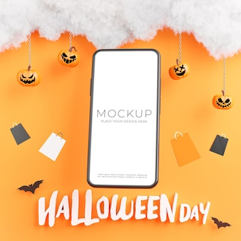 3d render of smartphone with happy halloween day for your product display