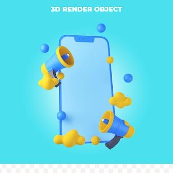 확성기와 3d 렌더링 스마트폰