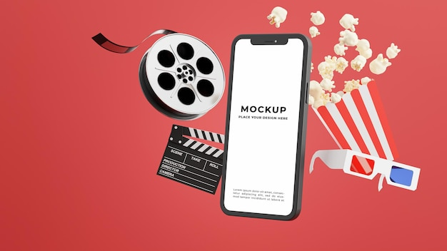 3d render of smartphone with online cinema time