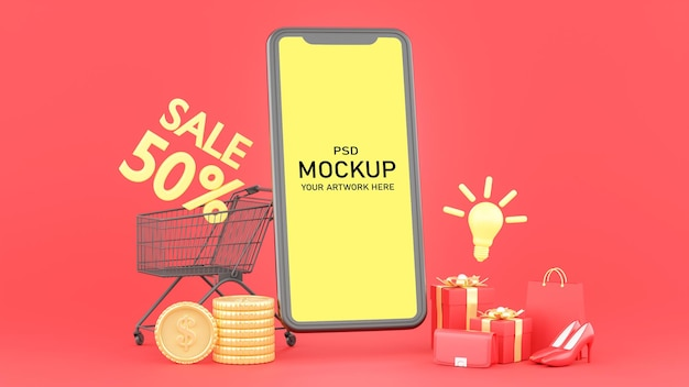 3d render of smartphone with online shopping concept for mockup