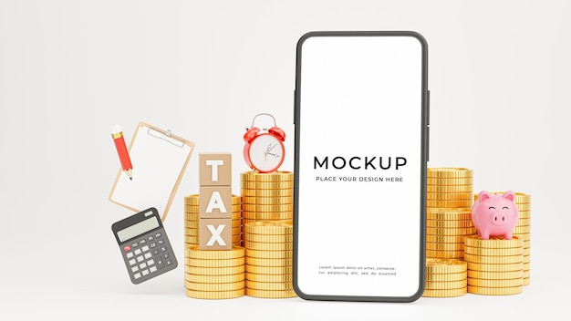 3d render of smartphone with tax time for your mockup design