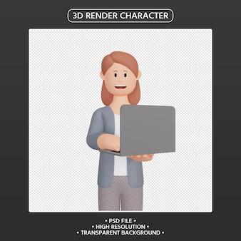 3d визуализация улыбающегося женского персонажа с ноутбуком