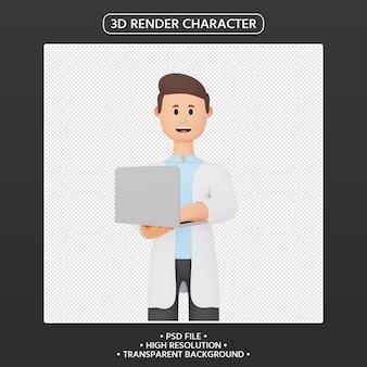 노트북과 3d 렌더링 웃는 남자 만화 캐릭터