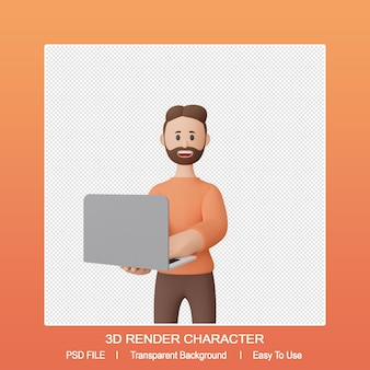 3d render smiling man character hold a laptop