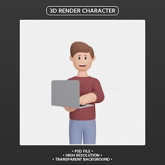 3d 렌더링 노트북으로 웃는 남자 캐릭터