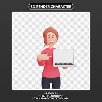노트북을 가리키는 3d 렌더링 웃는 여자 캐릭터