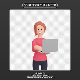 노트북과 3d 렌더링 웃는 여자 캐릭터
