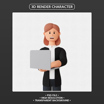 3d render smiling woman character with laptop