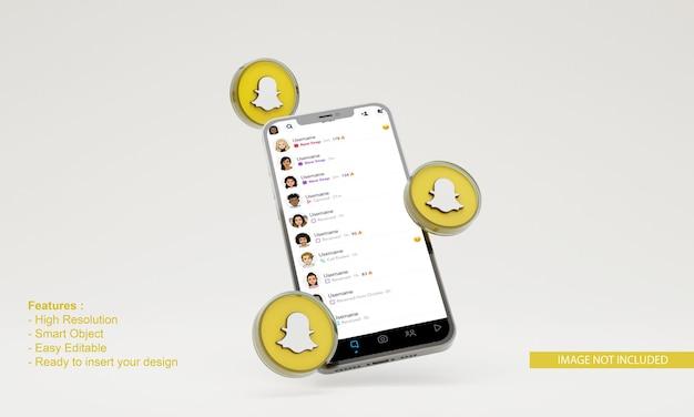 3d визуализация snapchat иллюстрации макет мобильного телефона
