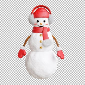 3d render of snow man with merry christmas on transparent background,clipping path