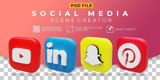3d 렌더링 소셜 미디어 로고 컬렉션 아이콘