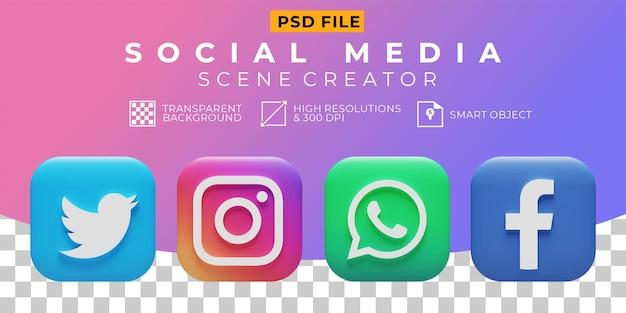 Значок коллекции логотипов в социальных сетях 3d визуализации