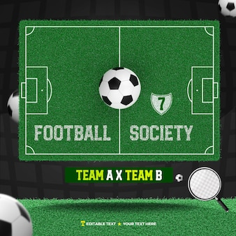 3d render society football with field and ball team