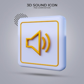 Значок звука 3d визуализации изолированы