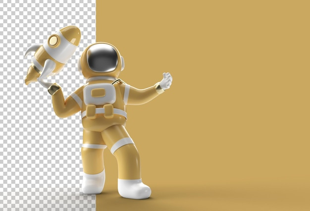3d render spaceman astronaut flying rocket