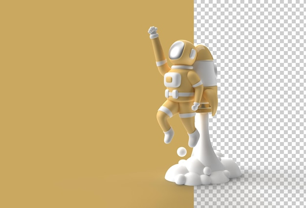 3d render spaceman astronaut flying with rocket