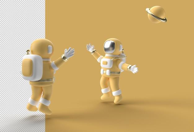 透明なpsdファイルをジャンプする3dレンダリング宇宙飛行士宇宙飛行士。