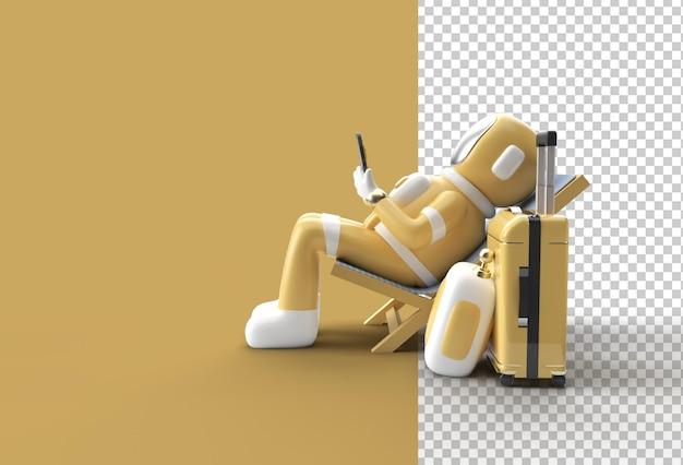 3d 렌더링 우주인 우주 비행사 여행 가방과 함께 전화를 사용하여 의자에 앉아