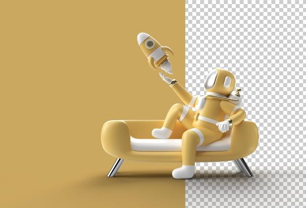 3d визуализация космонавт-космонавт сидит на диване с летающей ракетой