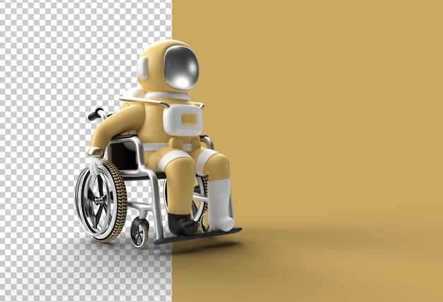 3d render spaceman astronaut sitting on wheelchair