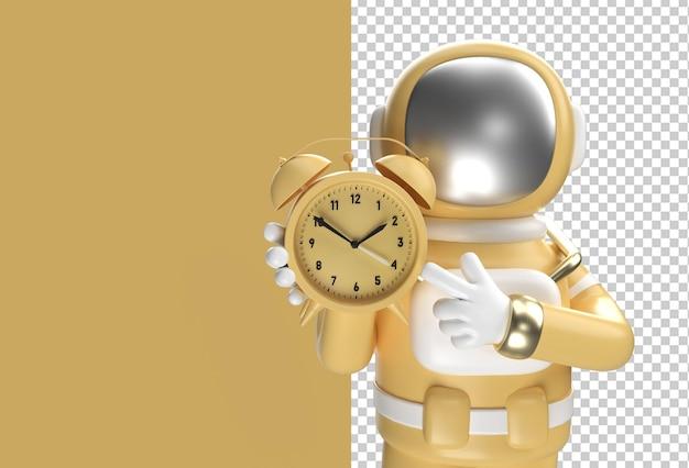 3d render spaceman astronaut with alarm clock