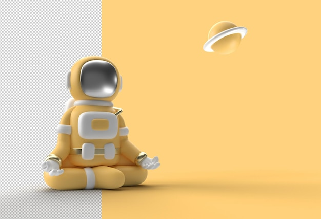 3d render spaceman astronaut yoga gestures transparent psd file.