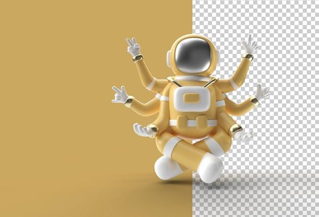 3d render spaceman astronaut yoga gestures