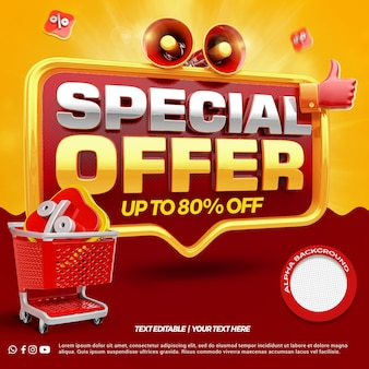 3d render special offer with megaphone and like shopping cart rendering