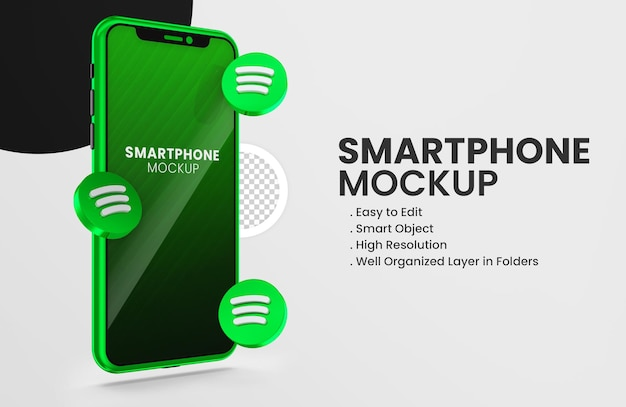 3d render spotify icon on green smartphone mockup