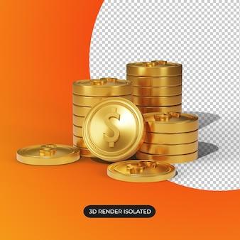 절연 금 달러 동전의 3d 렌더링 스택