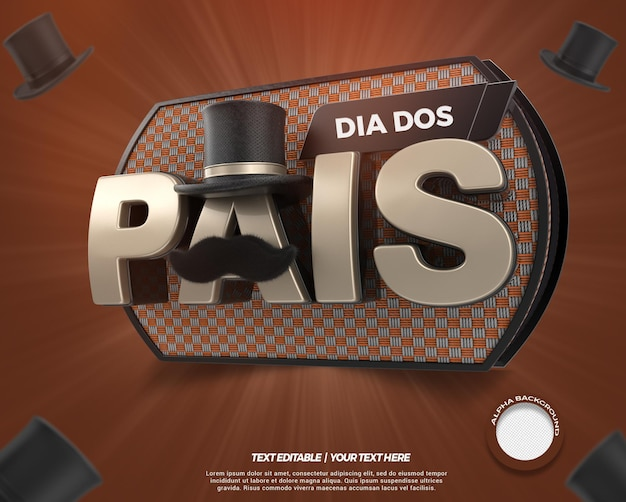 브라질에서 3d 렌더링 스탬프 아버지의 날 캠페인