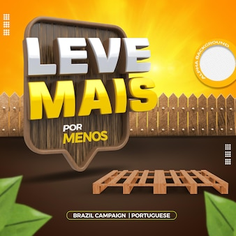 나무 팔레트와 울타리가있는 브라질의 일반 상점 캠페인을위한 3d 렌더링 스탬프
