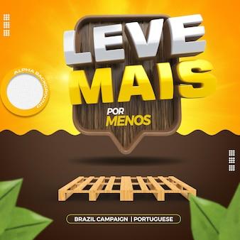 나무 팔레트가있는 브라질의 일반 상점 캠페인을위한 3d 렌더링 스탬프