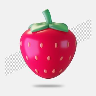3d 렌더링 딸기 아이콘 절연