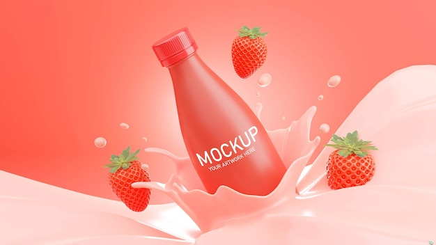 3d render of strawberry milk bottle with splash for mockup branding