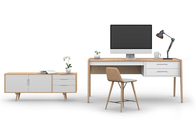 3d render of studio computer with desk, sideboard