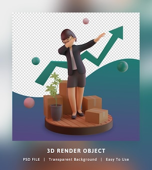 3d render of stylish character with statistic graph