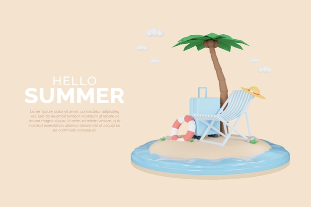 3d render of summer background template