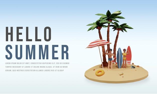 캐릭터와 함께 3d 렌더링 여름 판매 배너 템플릿 게시물 premium psd