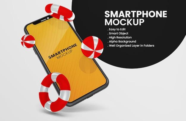 3d визуализация значка летней темы на черном макете смартфона