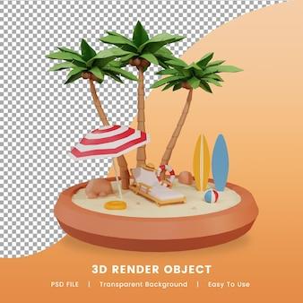 여름 열 대 해변의 3d 렌더링