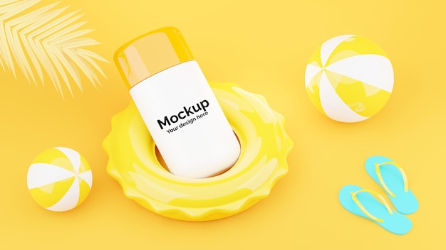 3d render of sunscreen protection cream mockup