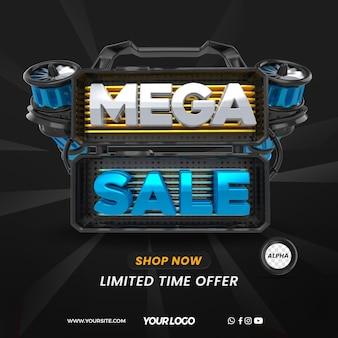 3d render super mega sale with turbine for general stores