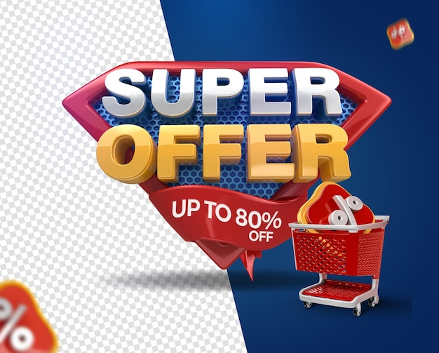3d render super offers with shopping cart for general stores campaign
