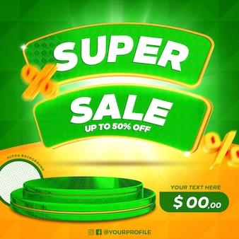 3d render super sale offer label with podium isolated