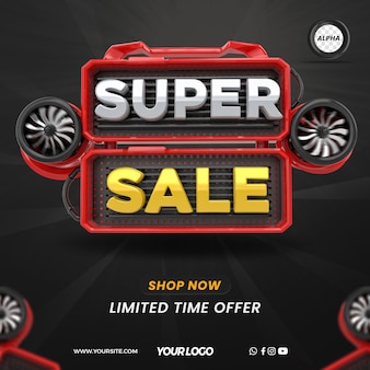 3d render super sale with podium for general stores