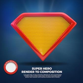 컴포지션에 대한 3d 렌더링 슈퍼 히어로 방패