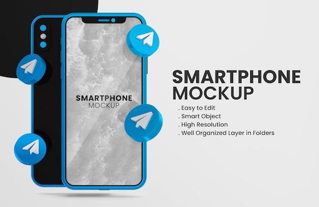 3d render telegram icon on blue smartphone mockup