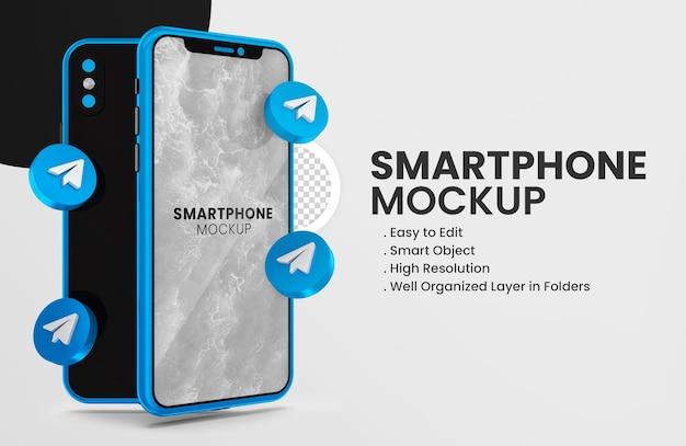 Значок телеграммы 3d визуализации на синем макете смартфона
