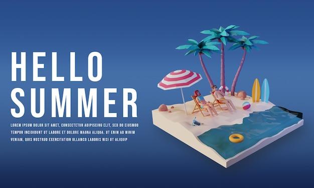 연단 프리미엄 psd가 있는 여름날 3d 렌더링 템플릿 디자인